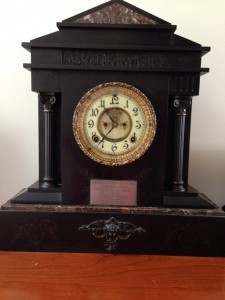 The prize for the winner, an English Carriage Clock